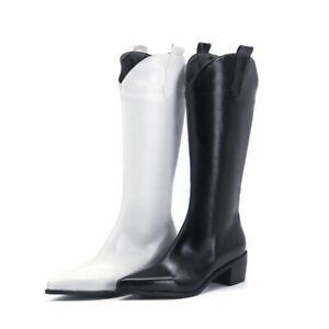 Trendy Ladies Women Mid Calf Boots Cuban Heel Cowboy Faux Leather Boots Shoes L
