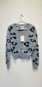JUMPER 1234 Leopard Cardigan In Silver Leopard 100% CASHMERE, SIZE S, NEW## (BS)