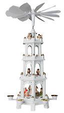 BRUBAKER Weihnachtspyramide Holz Pyramide Weiß Weihnachten 4 Etagen 60 cm