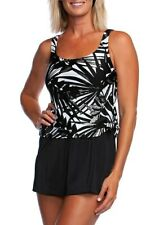 Maxine of Hollywood Shimmering Faux Skirtini Swimsuit Tummy Control 12 14 22W