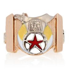 Shriners Masonic Ring - 10k Yellow Gold Scimitar Sword & Crescent Enamel