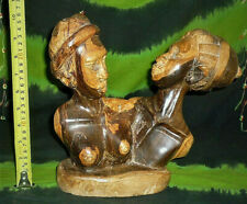 AFRICAN ART WOODEN CARVED FIGURE MODEL BUST ETHNIC STATUE