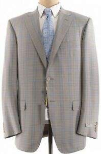 Canali NWT Sport Coat Size 44L In Tan With Light Blue & Brown Plaid Wool $1,495