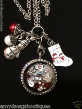 Christmas Snowman Floating Memory Locket Necklace Free Ship