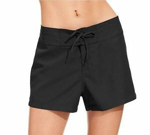 NWT Island Escape Black Lace Up front Swimsuit sz 14 Cover Up Board Shorts