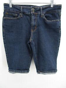 Denizen from Levi's Women 12 Blue Denim Modern Skinny Shorts Bermuda High Waist