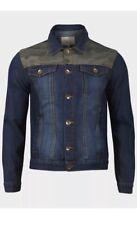 Brave Soul Mens Denim Jacket in Washed Blue with camouflage insert UK size S