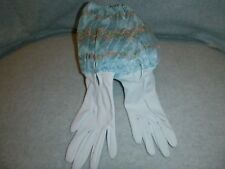 Vintage Blue Gloves With Attached Embroidered Flowered Cuff