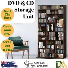 Adjustable CD DVD Bluray Media Book Storage Cabinet Shelf Rack Stand Unit Brown