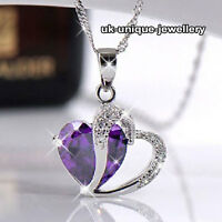 Amethyst Purple Heart Crystal Necklace Silver Xmas Gift For Her Women + Gift Bag