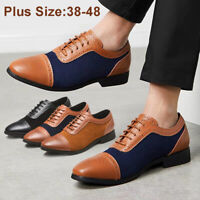 Retro Men Lace up Oxfords Matte Casual Leather Business Formal Shoes Pointed Toe
