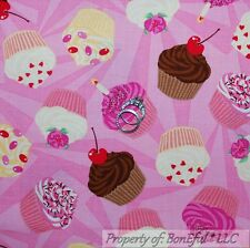 BonEful Fabric FQ Cotton Quilt Pink Red Girl Happy Birthday Cupcake Cherry Candy