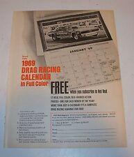 Vintage 1969 Drag Racing Calandar Magazine Ad 69 Cougar Eliminator