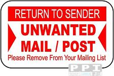 90 x RED Return To Sender Remove From Mailing List Labels Useful 4 Junk Mail !!