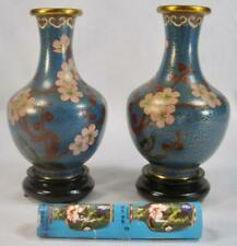 Pair Of Cloisonne Ware Vases Pink Flowers Blue Background China Woodeb Bases (O)