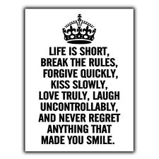 LIFE IS SHORT BREAK THE RULES METAL SIGN WALL PLAQUE Inspirational quote print