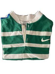 Nike RF Roger Federer White DriFit Shirt Medium. White Green Strips