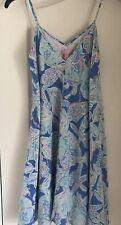 Lilly Pulitzer 100% Silk Lined Sundress Light Blue Seashell Pattern Size M