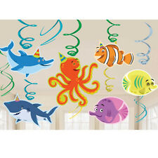 OCEAN BUDDIES UNDER THE SEA PARTY SWIRLS CUTOUTS HANGING DECORATION X 12