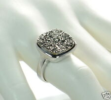 Solid 925 Sterling Silver Cushion Cut Grey Druzy Cocktail Ring Size 6 '