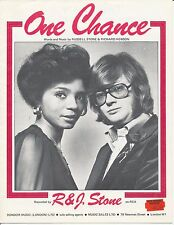 One Chance - R & J Stone - 1976 Sheet Music