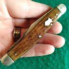 Vintage Antique Wards Winchester Bone Stag Stockman Pocket Knife