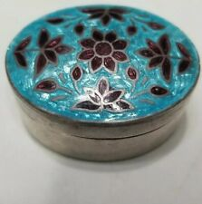 ANTIQUE STERLING SILVER GUILLOCHE ENAMEL TRINKET BOX RING BOX