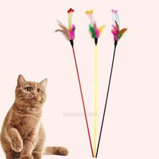 5pcs Funny Elastic Plastic Long Pole Colorful Flower Sticks Feather Tease Toys
