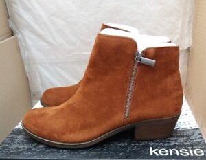 Ladies Kensie Ghita Ankle Boots - Chestnut Suede