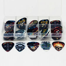 Hot 50pcs Guns and Roses Fire Skull Guitar Picks Mix Plectrums+beads Case Box