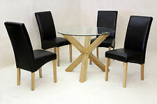 Dining Table Round Clear Glass Solid Oak Tripod Legs Four Black Leather Chairs