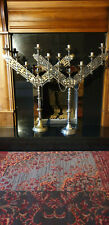 PAIR OF LARGE ANTIQUE IRISH GOTHIC SEVEN CANDLE ALTER CANDELABRAS