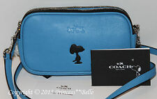 COACH x Peanuts Snoopy Crossbody Pouch Leather Bag Purse Blue Limited Edition
