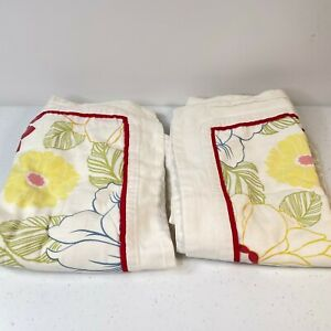 pillowcase standard sham pair lorena garcia 100% cotton floral red cream