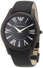 Emporio Armani SPORTIVO Mens Watch BLACK Dial on BLACK Leather AR2059 $275 - NIB