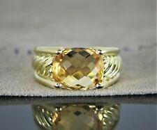 $3,250 David Yurman 18K Yellow Gold 12mm Citrine Cable Ring Band Size 6