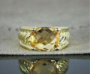 $3,250 David Yurman 18K Yellow Gold 12mm Citrine Cable Ring Band Size 6