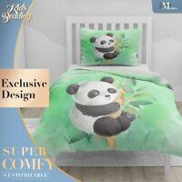 Baby Panda Nursery Art Watercolor Green Duvet Cover Set Zipper Pillow Cover