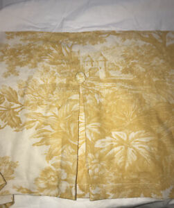 Pottery Barn Matine Yellow Toile Pleated Button Bedskirt - Full Size