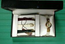 NIB Gruen Ladies Wristwatch With 3 Additional Interchangeable Bands