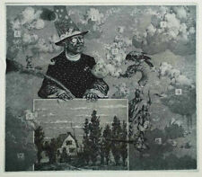 """Konstantin Kalynovych (Kalinovich) etching """"Collector of Clouds"""""""