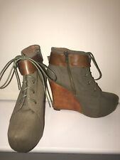 Jeffrey Campbell Khaki Green Brown Canvas Wood Wedge Ankle Boots  - Size 6 BNIB