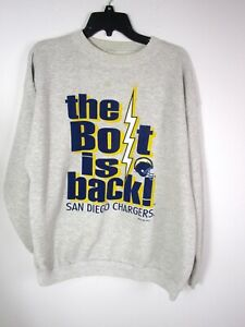 San Diego Chargers The Bolt Is Back Sweatshirt 1994 Gray Size XXL NFL Flaws