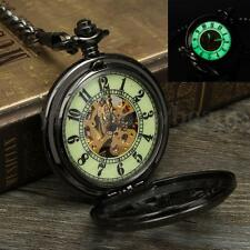 Unisex Mens Pocket Watches Luminous Dial Skeleton Automatic Self-Wind Mechanical