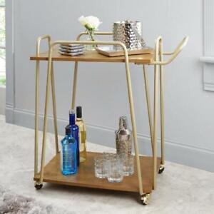 2 Tier Hairpin Bar Cart Modern Rectangular Hairpin Style Frame Airy Design Gold