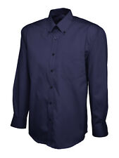 Mens Pinpoint Oxford Branded Long Sleeve Shirt- Button Down Collar. white black