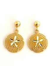 Width: 12 mm L: 18 mm E2525.5-7 14K Solid Yellow Gold Sand Dollar Dangle Earring