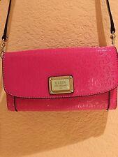 GUESS NWT Unique Semi Gloss Front Logo-Textured Clutch Crossbody Handbag Purse