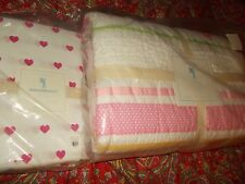 POTTERY BARN KIDS HEART PATCHWORK QUILT, FULL QUEEN,+ SHEET SET, FULL,1 sham NEW