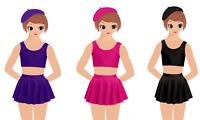 Girls Circular Stretchy Skirt Kids Ballet Skating Tap Jazz Dance Gymnastics 3-13